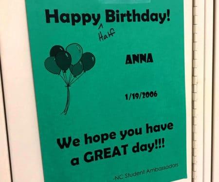 happy birthday locker sign by the knight ambassadors