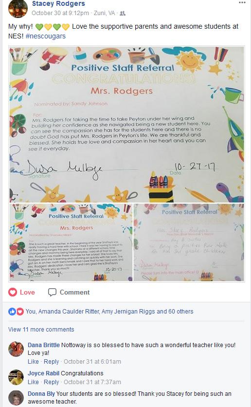 positive teacher referral shared to social media